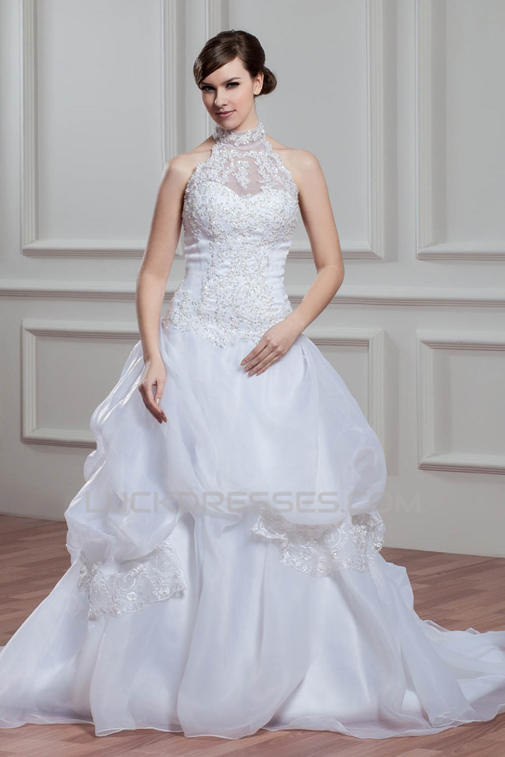 8b671aa4780 A-Line Halter Sleeveless Satin Organza Lace High Neck Wedding Dresses  2030756