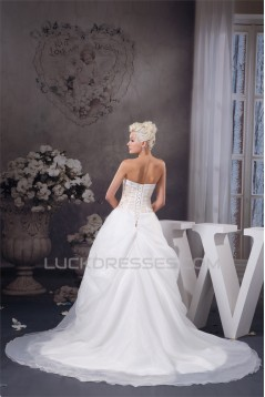 New Style Satin Strapless Sleeveless A-Line Beaded Wedding Dresses 2030805