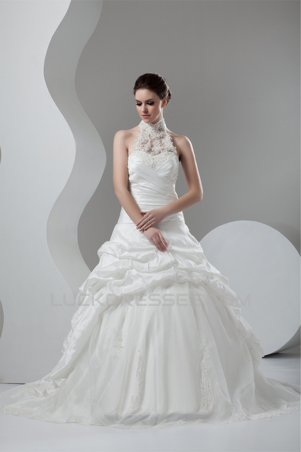 Organza Taffeta Lace High-Neck Ball Gown Sleeveless Wedding Dresses ...