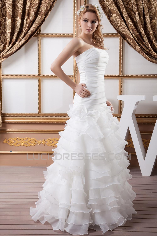 A-Line Sleeveless Soft Sweetheart Most Beautiful Wedding ...