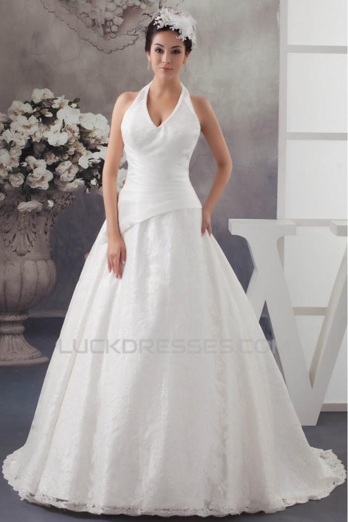 Satin Lace Taffeta Halter Sleeveless A-Line Best Wedding Dresses 2030855