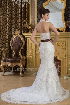 Mermaid/Trumpet Sleeveless Satin Lace Halter Sweet Wedding Dresses 2030926