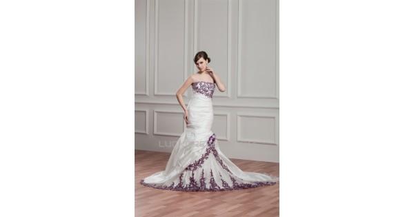 Strapless Mermaid Wedding Gown: Sleeveless Mermaid/Trumpet Strapless Organza Taffeta