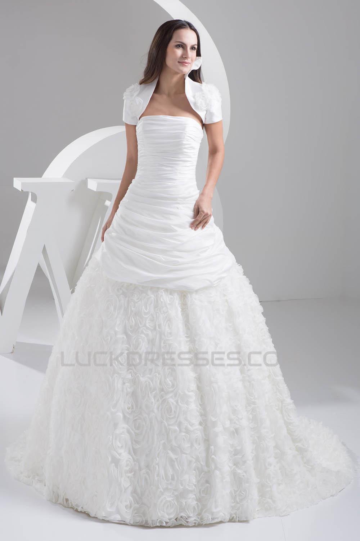 Sleeveless Satin Taffeta Netting Strapless Most Beautiful Wedding ...
