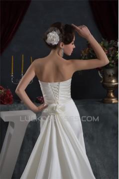 Sleeveless Satin Taffeta Strapless A-Line Sweet Wedding Dresses 2030949