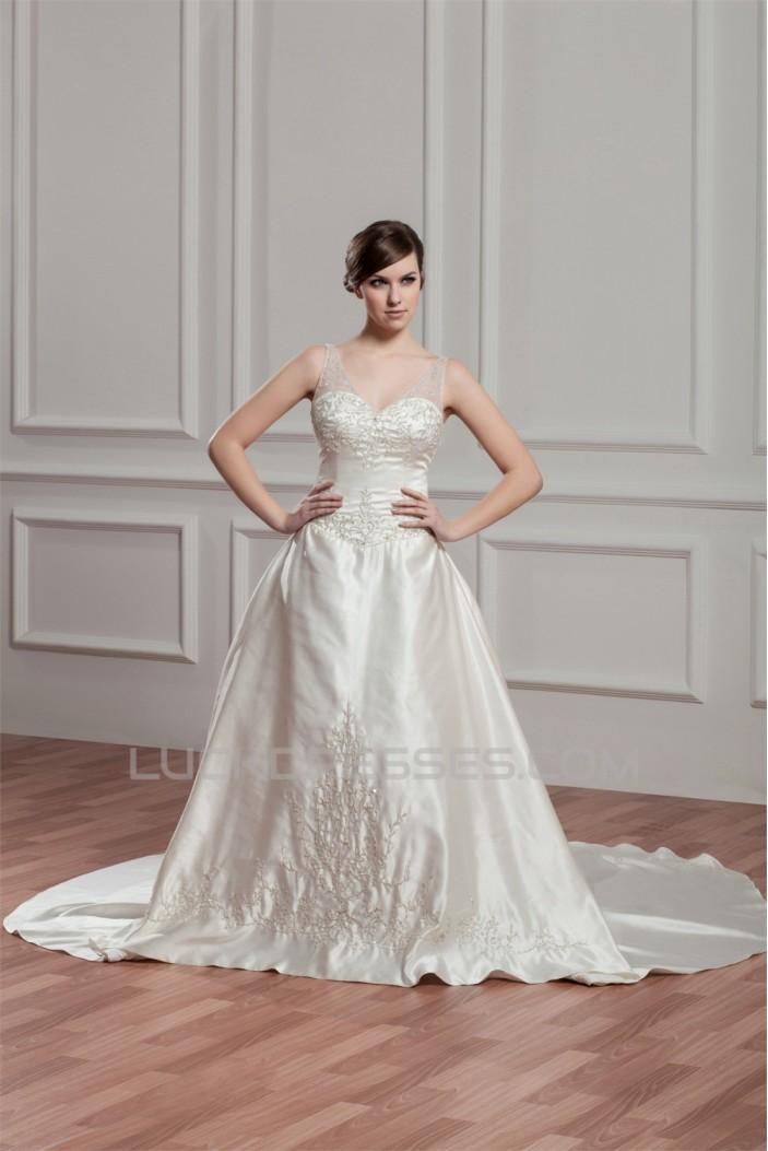 Sleeveless Sheer Satin Fine Netting A-Line Wedding Dresses 2030954