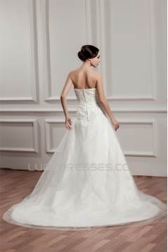 A-Line Sleeveless Strapless Satin Beaded Lace Wedding Dresses 2030963