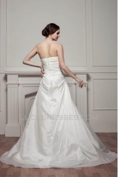Sleeveless Strapless Satin Taffeta A-Line Beaded Wedding Dresses 2030967