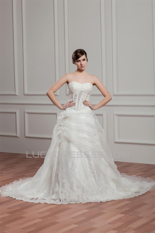 A Line Satin Lace Beautiful Sleeveless Strapless Wedding