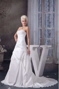 Satin Taffeta A-Line Strapless Wedding Dresses 2030984