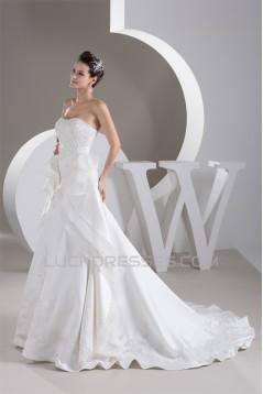 Strapless A-Line Satin Sleeveless Beautiful Wedding Dresses 2030990