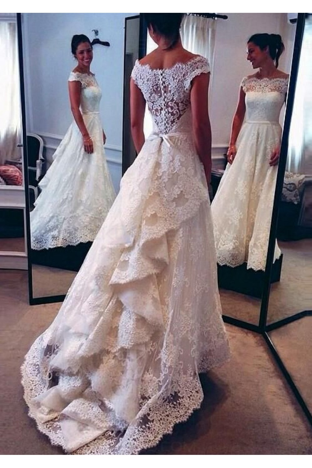 A Line Bateau Lace Vintage Wedding Dresses Bridal Gowns 3030001