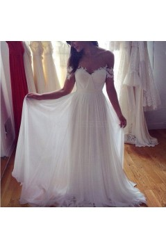 A-Line Off-the-Shoulder Lace Chiffon Wedding Dresses Bridal Gowns 3030003
