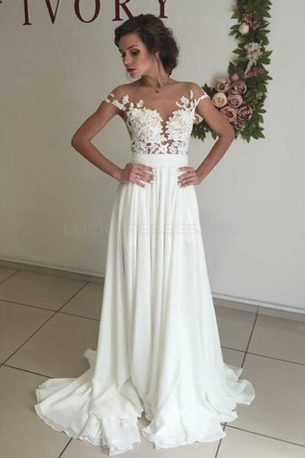 Elegant illusion bodice lace chiffon wedding dresses for White dresses for wedding