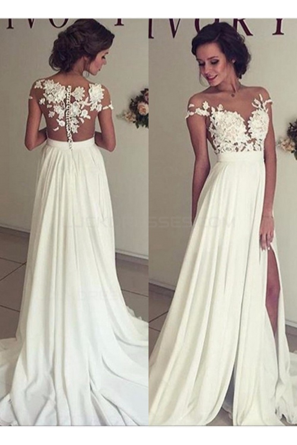 Elegant illusion bodice lace chiffon wedding dresses for Shop online wedding dresses