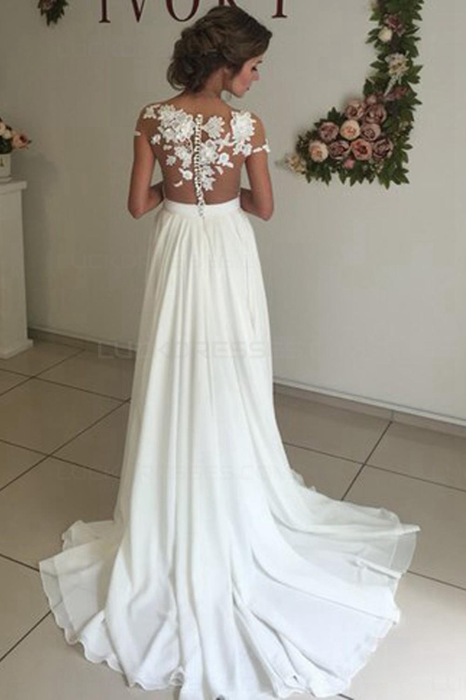 Elegant illusion bodice lace chiffon wedding dresses for Classy lace wedding dresses