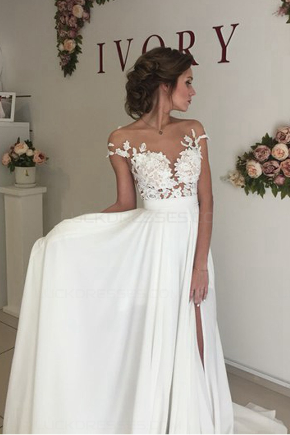 elegant illusion bodice lace chiffon wedding dresses bridal gowns 3030006. Black Bedroom Furniture Sets. Home Design Ideas
