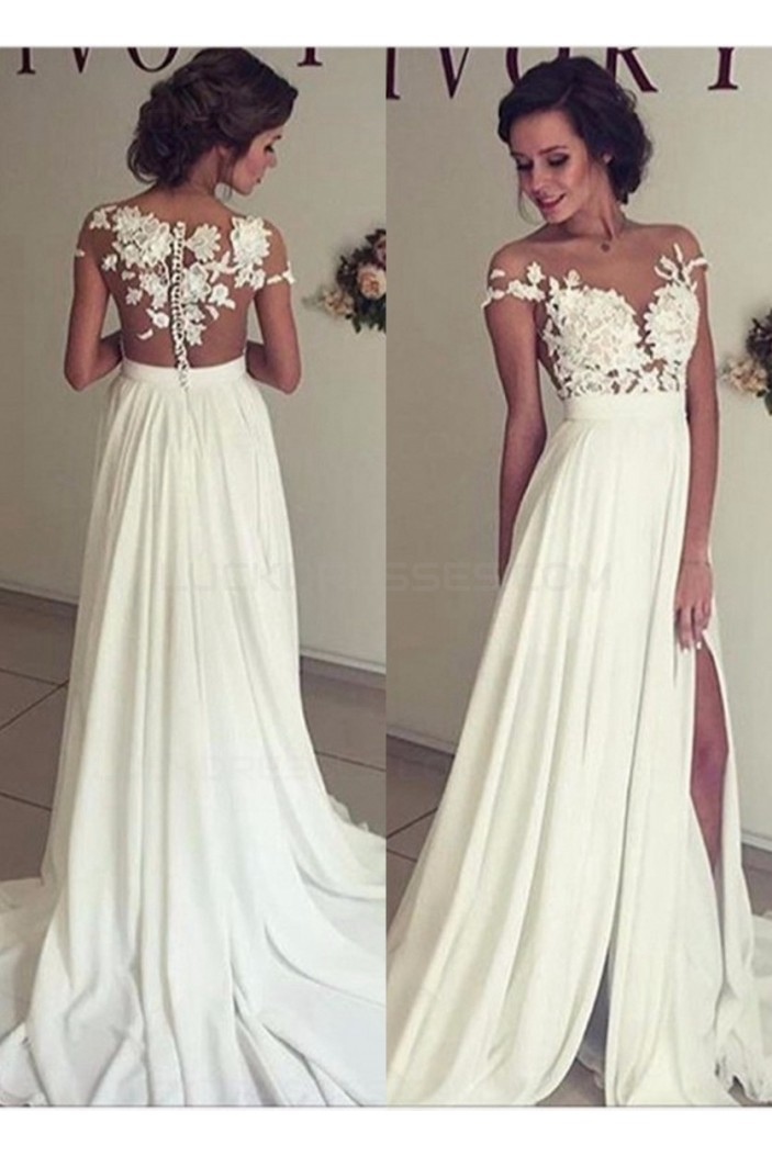 Elegant Illusion Bodice Lace Chiffon Wedding Dresses Bridal Gowns 3030006