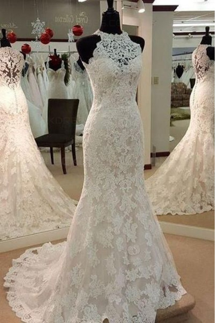Mermaid Jewel Neckline Lace Wedding Dresses Bridal Gowns 3030008