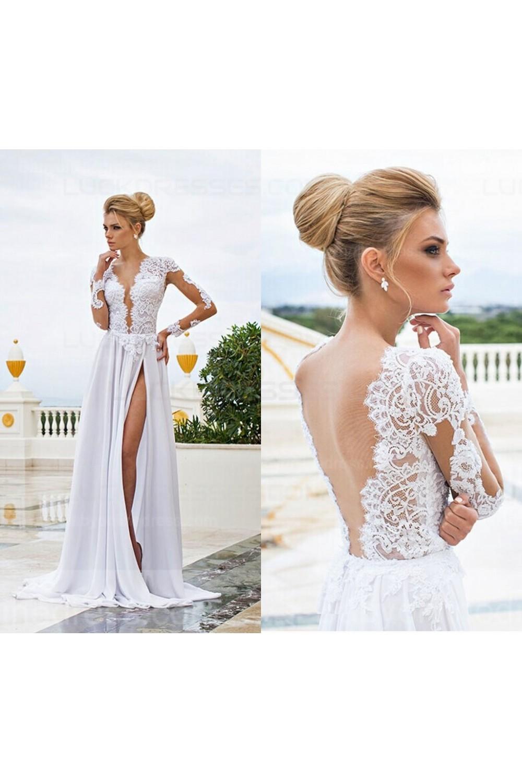 Long Sleeve High Slit Lace Chiffon Wedding Dresses Bridal Gowns 3030009