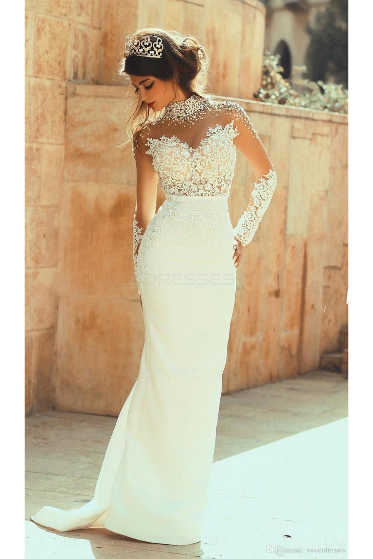 High Neck Beaded Long Sleeves Illusion Bodice Lace Wedding Dresses ...