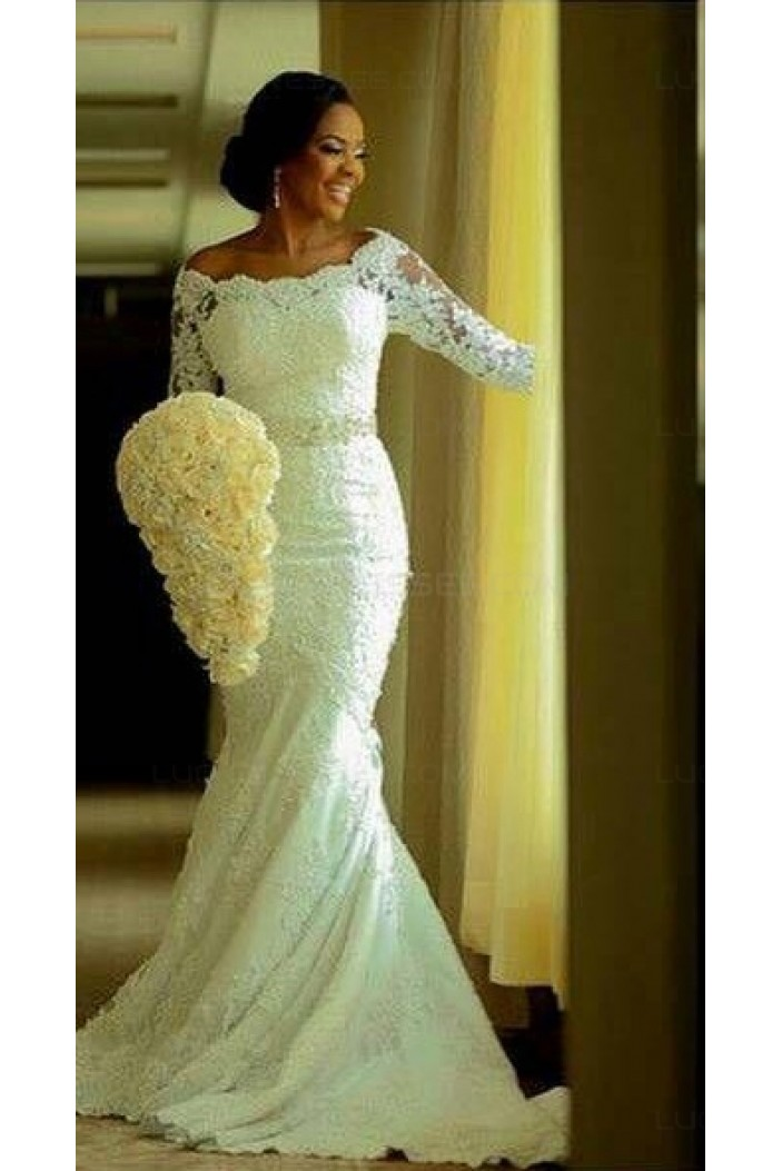 Elegant mermaid 3 4 length sleeves lace plus size wedding for Plus size lace wedding dresses with sleeves