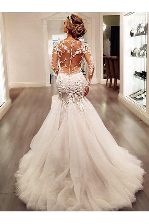 V Neck Lace Mermaid Wedding Dress