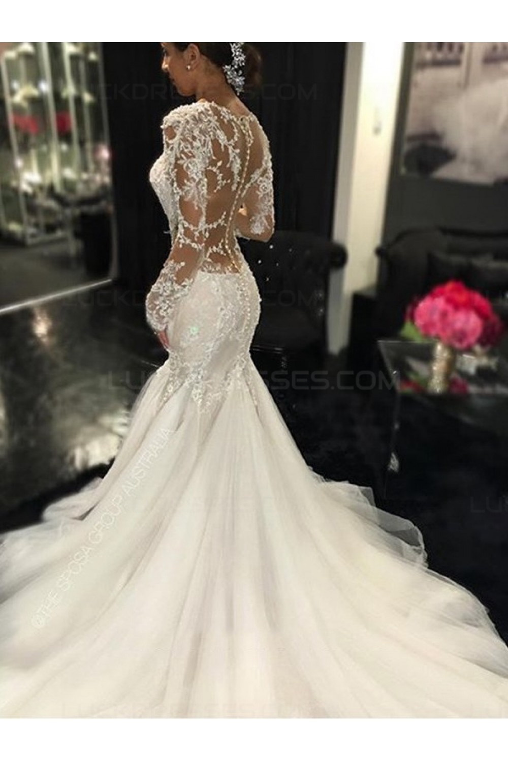 Long Sleeves Mermaid V-Neck Lace Wedding Dresses Bridal ...