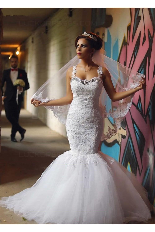 Mermaid Lace Straps Sleeveless Wedding Dresses Bridal