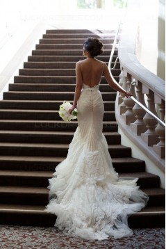 Mermaid Spaghetti Straps Lace Wedding Dresses Bridal Gowns 3030031