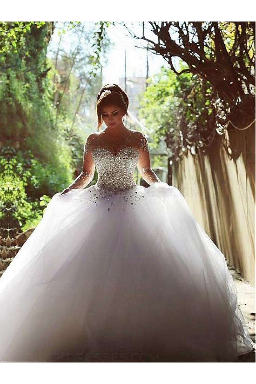 Long Sleeves Sheer Crystal Wedding Dresses Bridal Gowns ...