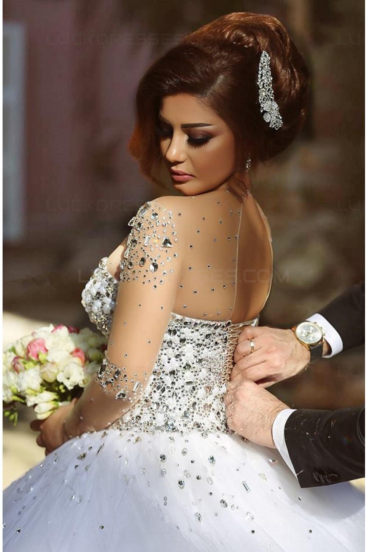 Long Sleeves Sheer Crystal Wedding Dresses Bridal Gowns 3030033