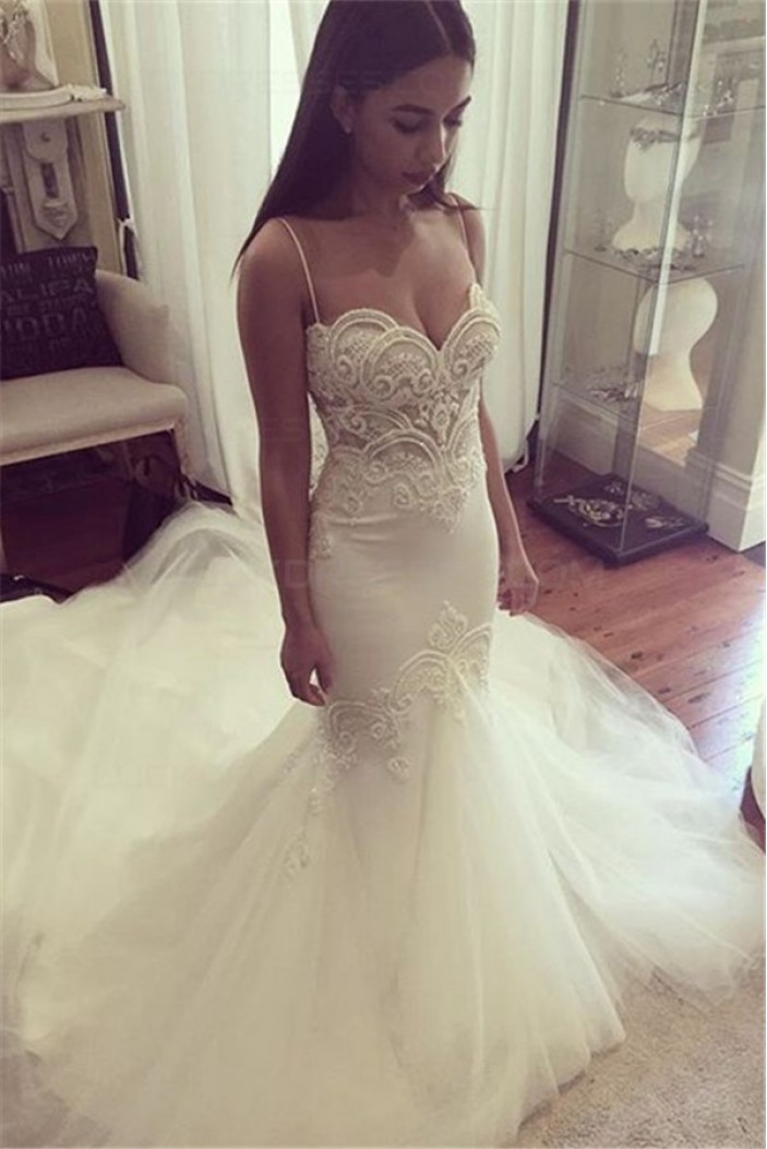 Mermaid Spaghetti Straps Lace Wedding Dresses Bridal Gowns 3030044