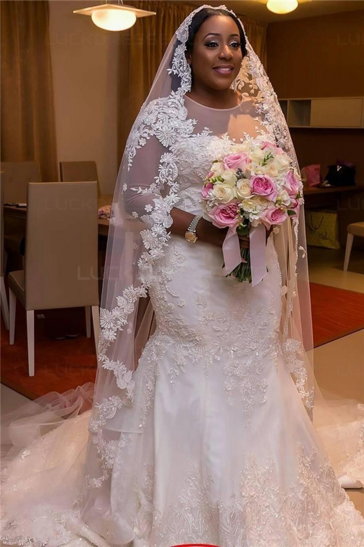 Mermaid 3/4 Length Sleeves Plus Size Lace Wedding Dresses Bridal ...