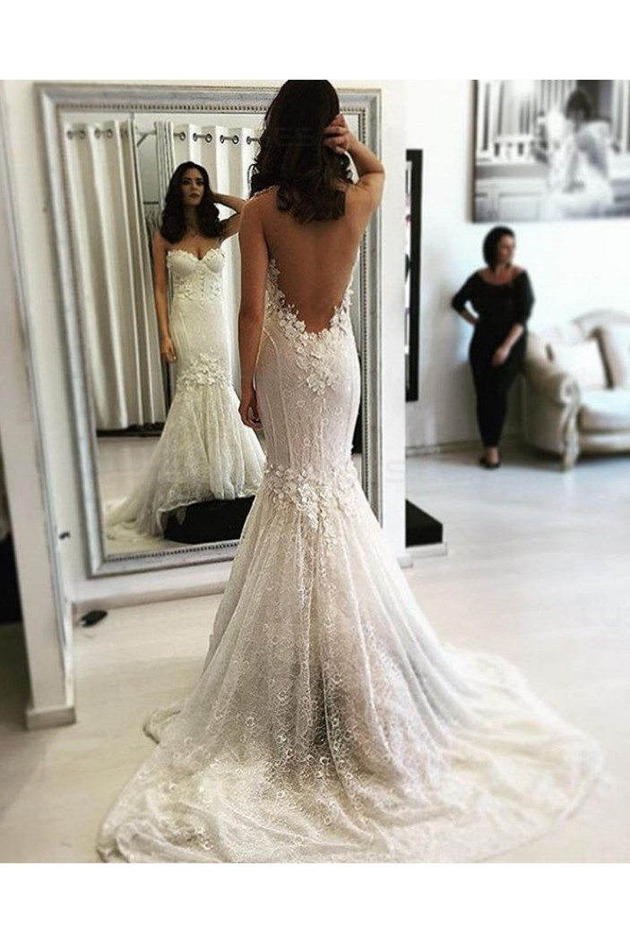 Mermaid backless lace wedding dresses bridal gowns 3030055 for Backless wedding guest dresses