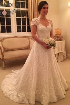 A-Line Short Sleeves Lace Wedding Dresses Bridal Gowns 3030058
