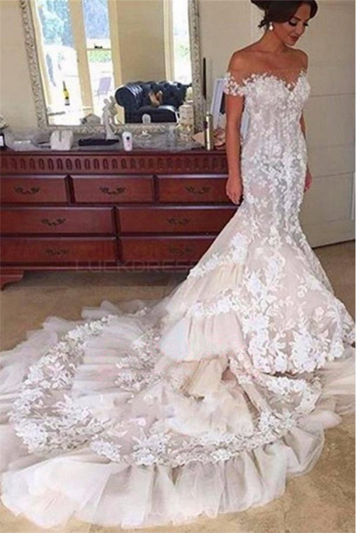Mermaid Off-the-Shoulder Lace Wedding Dresses Bridal Gowns 3030059