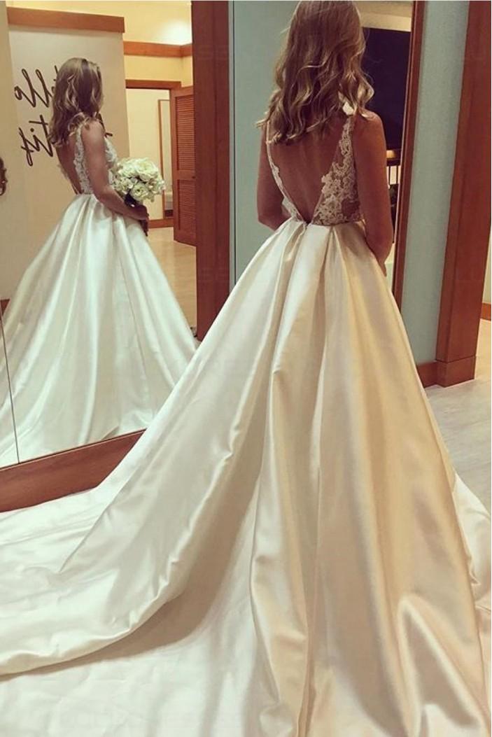 A-Line V-Neck Lace Wedding Dresses Bridal Gowns 3030064