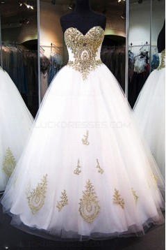 Ball Gown Sweetheart Gold Lace Appliques Wedding Dresses Bridal Gowns 3030065