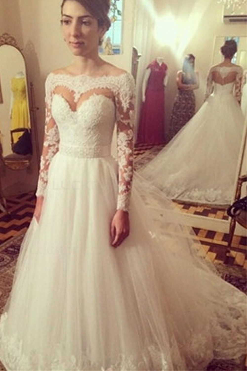 5153389c220 Long Sleeves Off-the-Shoulder Lace Tulle Wedding Dresses Bridal ...