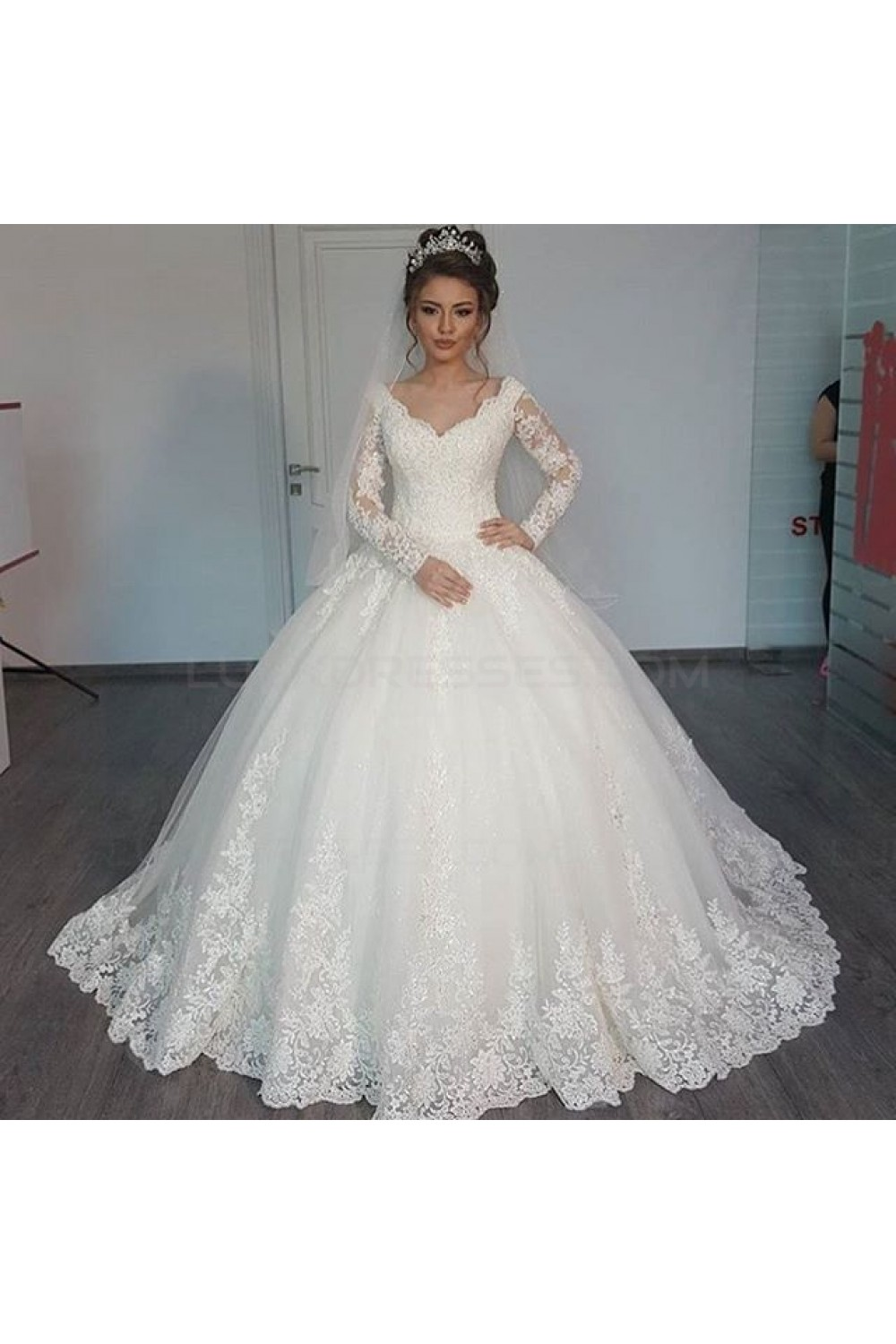 Ball Gown Long Sleeves Lace Wedding Dresses Bridal Gowns 3030073