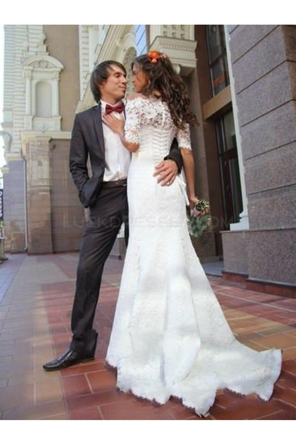 Lace Mermaid Off-the-Shoulder Short Sleeve Wedding Dresses Bridal ...