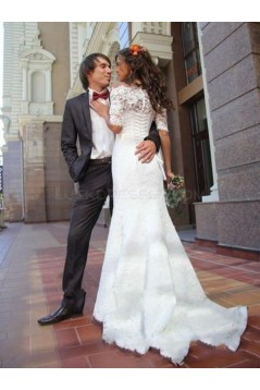 Lace Mermaid Off-the-Shoulder Short Sleeve Wedding Dresses Bridal Gowns 3030092