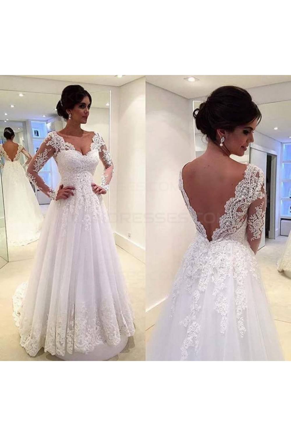 A line long sleeves lace v neck wedding dresses bridal for Wedding dresses for big busted women