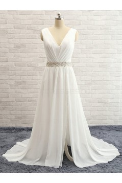 Sheath Chiffon Lace V-Neck Wedding Dresses Bridal Gowns 3030101