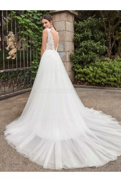 Mermaid Lace Tulle V-Neck Wedding Dresses Bridal Gowns 3030103