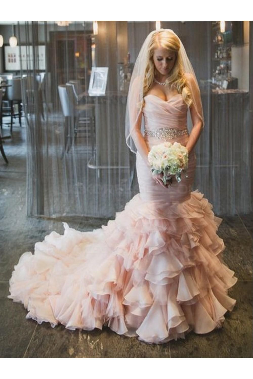 Mermaid Sweetheart Pink Beaded Waist Wedding Dresses