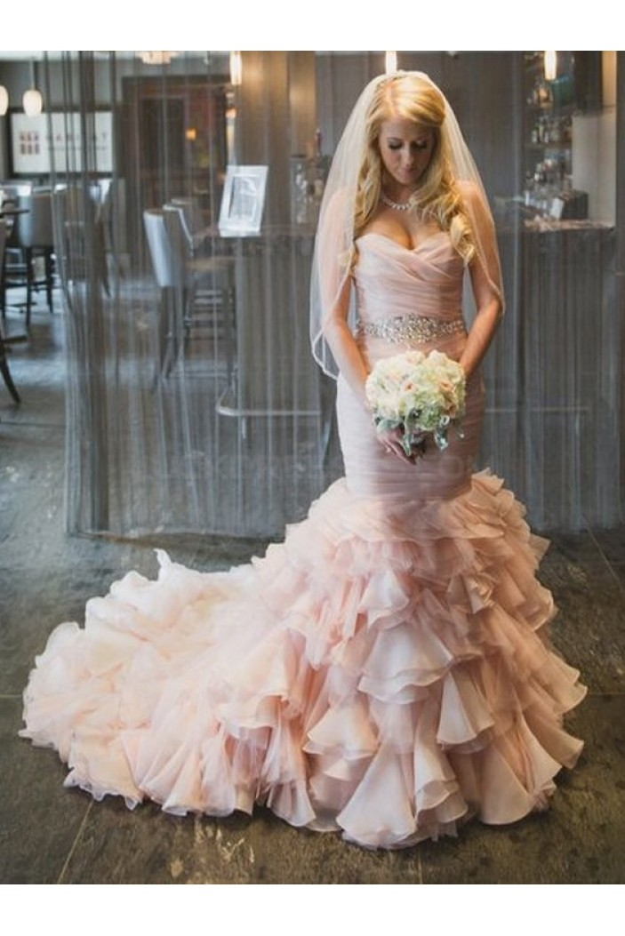 Mermaid Sweetheart Pink Beaded Waist Wedding Dresses