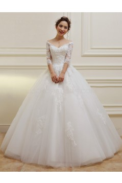 3/4 Length Sleeves V-Neck Lace Wedding Dresses Bridal Gowns 3030108