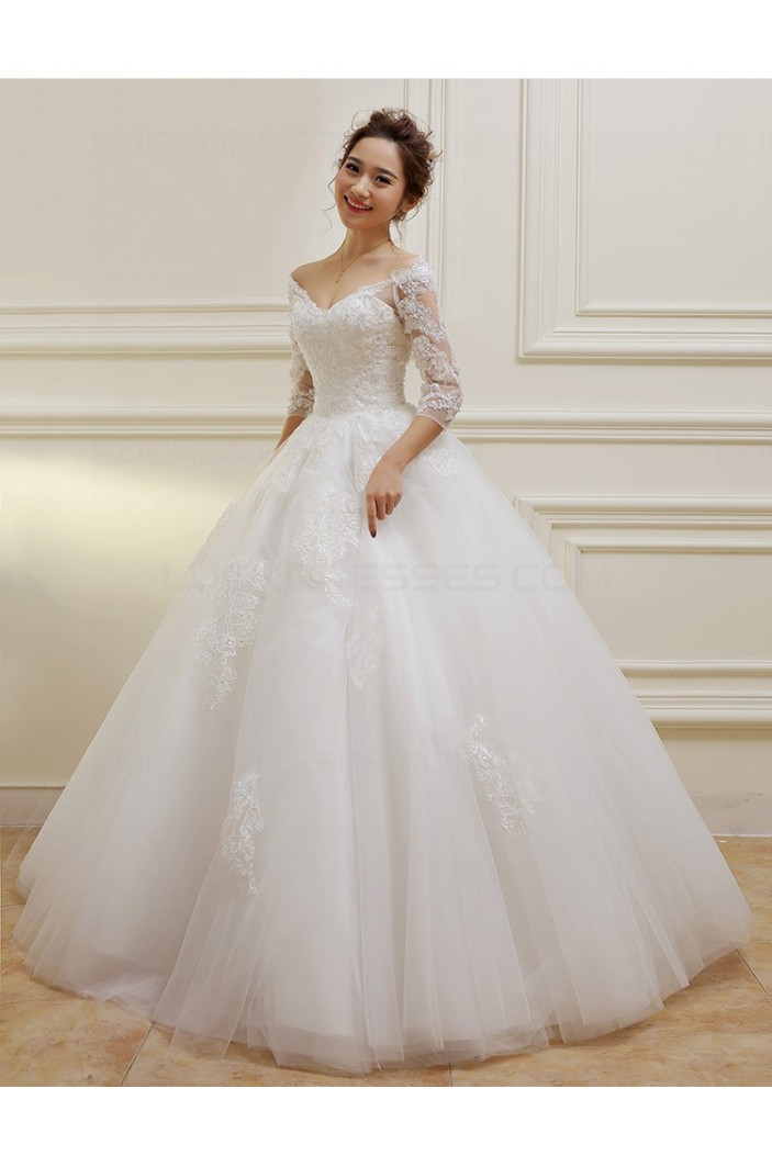 wedding dress 3 4 sleeve 3 4 length sleeves v neck lace wedding dresses bridal 9191